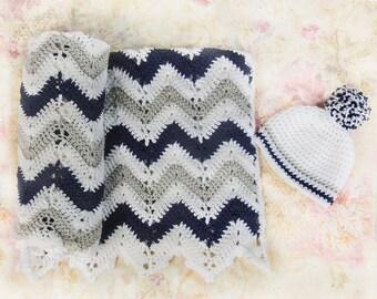 Crochet baby blanket, Baby blankets, Blue baby blanket, Gray baby blanket, Baby blanket set,  Baby boy blanket, Nursery blanket, Baby gift