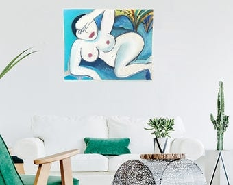 Leisurely Woman   by artist TΛY   Acrylic painting on 16 inches by 20 inches canvas board   Fine art   Original Artwork Made in Los Angeles