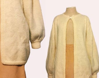 Vintage Cream Colored Wool Open Cardigan