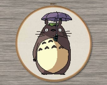 "Totoro with Umbrella - PDF Cross Stitch Pattern - Inspired by Miyazaki's film, ""My Neighbor Totoro"""