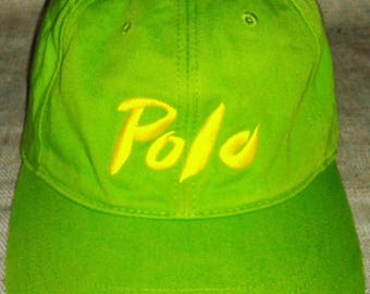 RARE VINTAGE RALPH lauren polo spell out cap hat pwing bear stadium