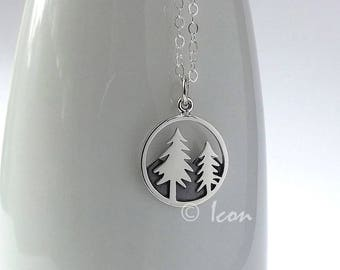 Silver Tree Necklace, Mountain Necklace, Pine Tree Necklace, Simple Nature Jewelry, wanderlust gift  outdoor gift, by Icon