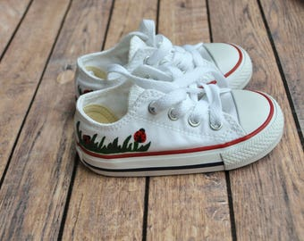 Hand Painted Ladybug Toddler Converse