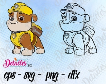 Paw Patrol SVG, Rubble, eps dxf pdf png, Cut Files Designs for Silhouette Studio and Cricut Design - Digital Instant Download