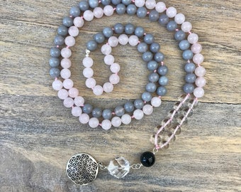Rose Quartz and Agate 108 Mala Beads with Sterling Silver Flower Of Life Charm, Knotted Mala, Gemstone Mala Necklace, Yoga Beads