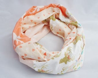 Infinity scarf with flowers and golden deers, boho scarf, Coral scarf, women gift, cotton scarf, summer scarf, pink scarf