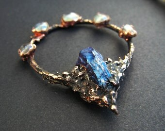 copper raw amethyst pendant glass drop