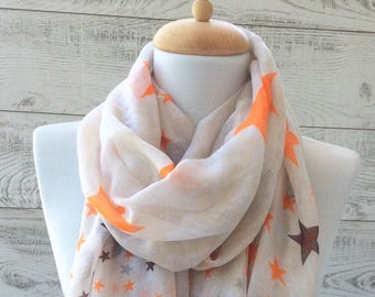 Star print white scarf women scarf infinity scarf scarves and accessories for her scarf