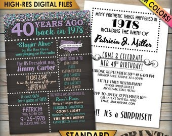 "40th Birthday Invitation, Born in 1978 Flashback 40 Years Ago 1978 Invite, 40th Invite, Chalkboard Style PRITNABLE 5x7"" 40th Bday Invitation"