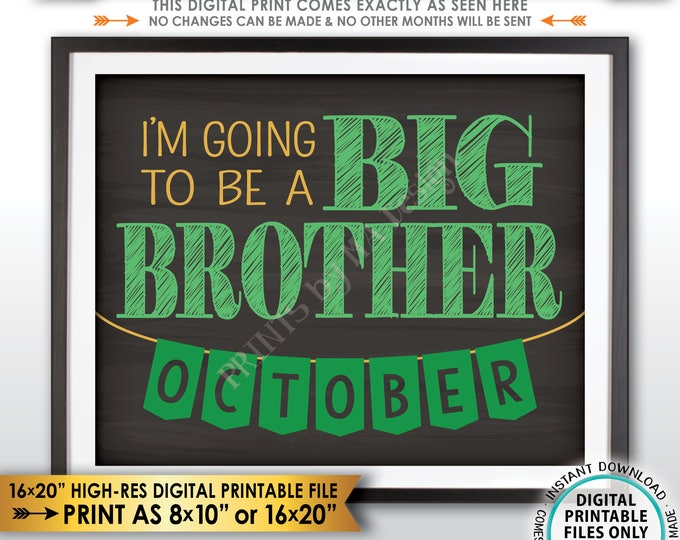 St Patrick's Day Pregnancy Announcement Sign, I'm Going to be a Big Brother in OCTOBER Dated Chalkboard Style PRINTABLE Reveal Sign <ID>