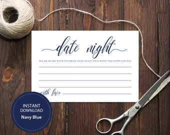 INSTANT DOWNLOAD 4x6 Date night ideas for bride and groom card Advice for the happy couple calligraphy Printable Navy Blue Cards #DP120_14