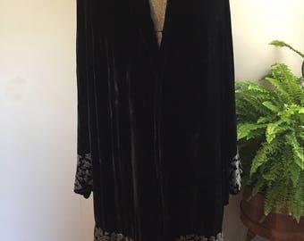 1920s/30's Silk Velvet and Glass Beaded Opera Coat
