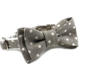 Luxury Dog or Cat Bow Tie - The FRANKIE // Classic (gray polka dot print)