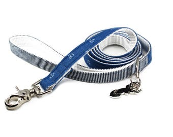 Luxury Dog or Cat Leash - The EZRA // LEASH (nautical chambray anchor print)