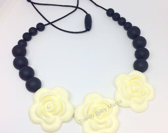Rose Teething Necklace - Necklace for Mom - Flower - Teething Baby - Baby Chew Beads - BPA Free -Silicone Teething Necklace - Black & White