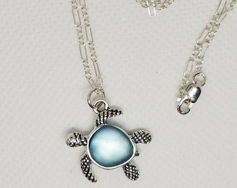 """Sea Turtle Necklace, Sterling Silver 24"""""""
