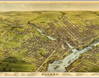 Bangor Maine Panoramic Maps painted in 1875. This print is a wonderful wall decoration for Den, Office, Man Cave or any wall seeking decor.
