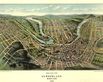 Cumberland Maryland Panoramic Map Dated 1906.  This print is a wonderful wall decoration for Den, Office, Man Cave or any wall.