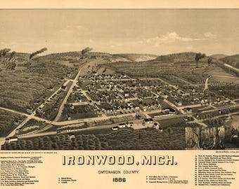 Ironwood MI panoramic map dated 1886. This print is a wonderful wall  decoration for Den, Office, Man Cave or any wall.