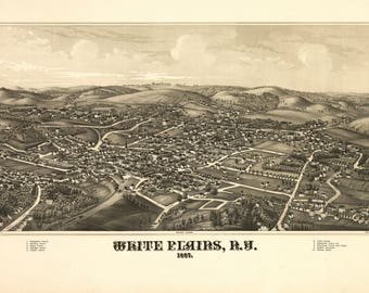 White Plains NY Panoramic Map dated 1887. This print is a wonderful wall decoration for Den, Office, Man Cave or any wall.