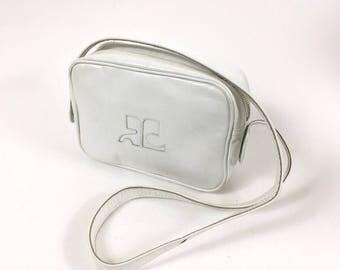 COURREGES authentic vintage 1960s Mod white patent logo mini shoulder bag