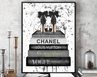Black, Grey, gray, blotchy, paint, drip, splash, Fashion, Watercolor, books, shoes, Fashion books, bedroom decor, fashion illustration, gift