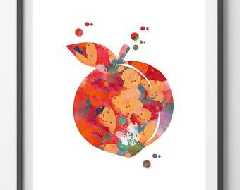 Peach watercolor Print Fruit art peach poster, peach illustration Wall decor, peach print, kitchen Wall Art gift, peach [NO 403]