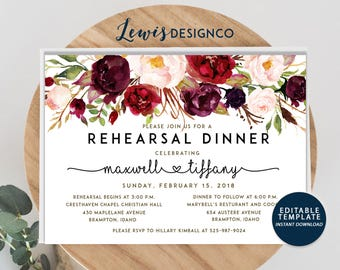 Watercolor Floral Rehearsal Dinner Invitation, Fall Wedding Invitation, , Flower Party Invite, Wedding Card, Editable Printable pdf jpeg