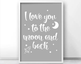 Nursery Wall Art, Instant Download, Printable Nursery Art, Quote Print, Moon Stars Nursery Print, Grey Nursery Decor, To The Moon And Back