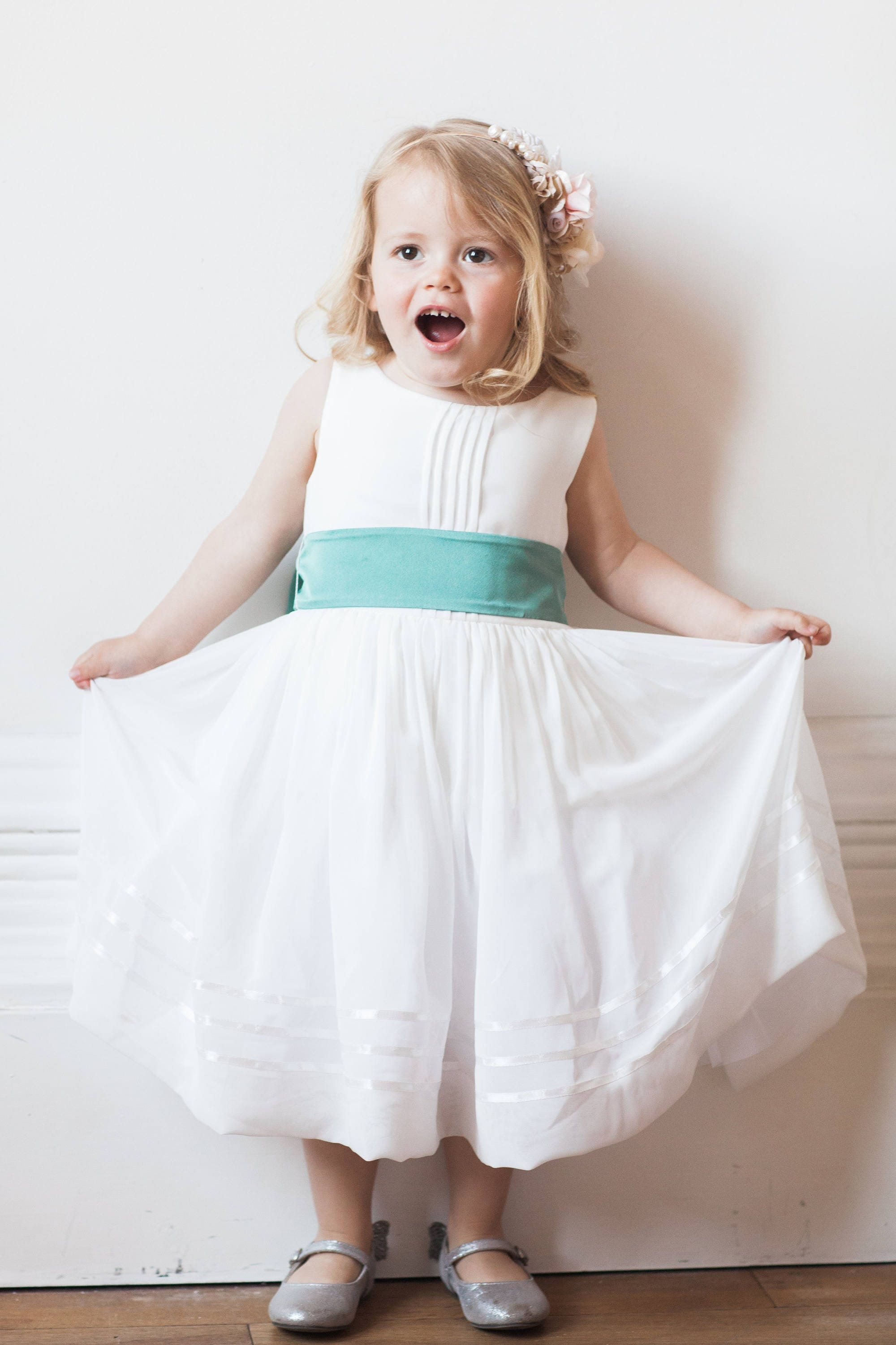 Powder Blue Flower Girl Dress By Matchimony With Complimentary Sash