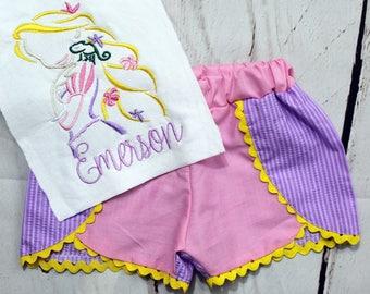 Girls Rapunzel Shirt- Tangled Shirt- Rapunzel Outfit- Toddler Girl- Princess Shirt- Rapunzel Shorts- Baby- 6m, 12m, 18m, 2t, 3t, 4, 5, 6 8