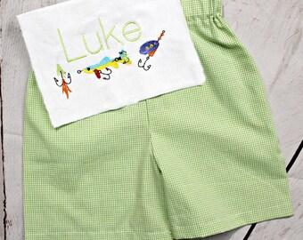 Boys Fish Shirt- Toddler Boys- Fishing lure Shirt- Baby Boys- Monogram- Applique Fish Shirt- Gingham Shorts- 6m, 12m, 18m, 2t, 3t, 4t, 5, 6