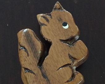 Vintage Squirrel Wooden Pin