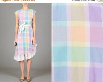 ON SALE Vintage Pastel Ruffled Dress