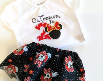 Minnie Mouse two year old girl birthday outfit - bloomers with skirt and embroidered white t-shirt -ready to ship- oh toodles