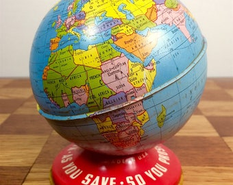 Vintage Ohio Art 'World Bank' Globe, Printed Tin Lithography, c. 1945