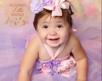 pink and purple baby girl headband, baby girls headband cake smash headband birthday outfit flower girls