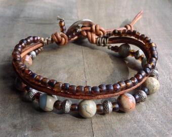 Impression jasper bohemian bracelet gemstone bracelet womens jewelry boho chic bracelet boho chic jewelry rustic bracelet western bracelet