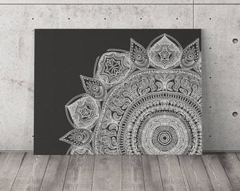 Black and White Mandala Canvas Art Wrap Canvas 24 x30