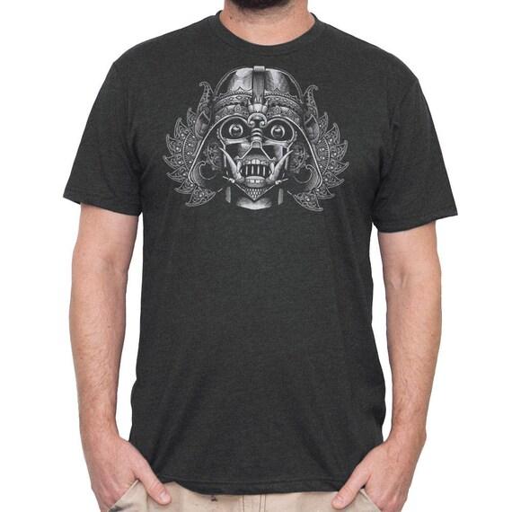 Darth Vader Mens Shirt- Mens Star Wars T-shirt- Darth Vader wearing Indonesian tribal Mask printed on a black mens t-shirt.