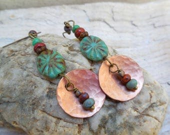 Earrings Bohemian, Czech glass beads, green, red, hammered copper disc