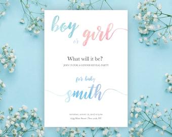 Gender Reveal Invitation, Gender Reveal Party, Boho, Watercolor, Pink, Blue, Girl, Boy,Invites, custom, printable, template, cheap, DIY