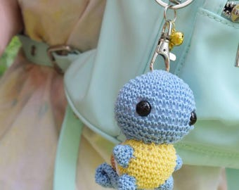 Crochet water Squirtle Pokemon starter inspired Key chain with bells charmander bulbasaur pikachu