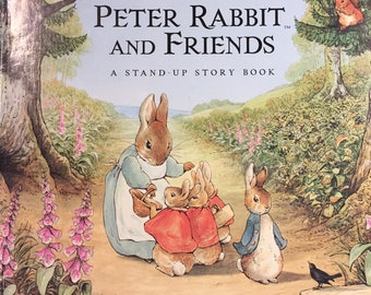 Vintage Beatrix Potter Peter Rabbit and Friends, Large Hardcover Stand-Up Story Book
