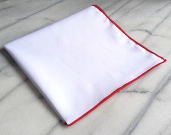 Cotton Mens Pocket Square-Handmade 100% Cotton Solid White Pocket Square with Purple Edge, Cotton Pocket Square, Suit Pocket Square
