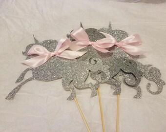 Silver Unicorn Centerpiece Sticks, Unicorn Party, Unicorn Centerpieces