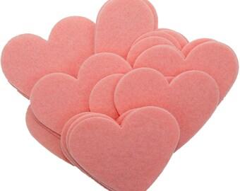 Pink Stiff Felt 3 Inch Hearts (22pc)
