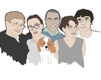 Personalized family portrait / Illustration customized for you / Custom sketch / A4 size in colors / gift idea for family!