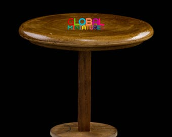 Dollhouse Miniatures Brown Wooden Round Bar Table Furniture Decorating Supply - 1:10 Scale