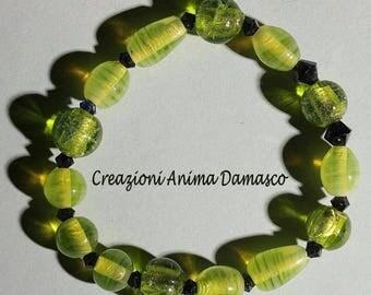 Bracelet handcrafted beads emerald green